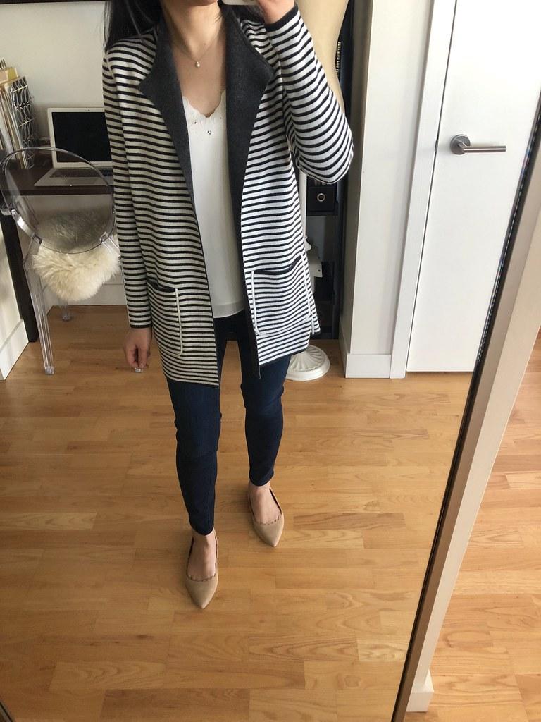 LOFT Striped Reversible Open Sweater Jacket, size XXS