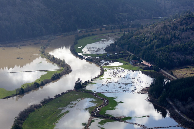 King Tide, Coquille River. Near Lampa Creek, between Riverton and Parkersburg (see map)