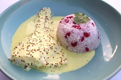 POACHED COD FILLET WITH WHOLE-GRAIN MUSTARD SAUCE AND POMEGRANATE PILAF