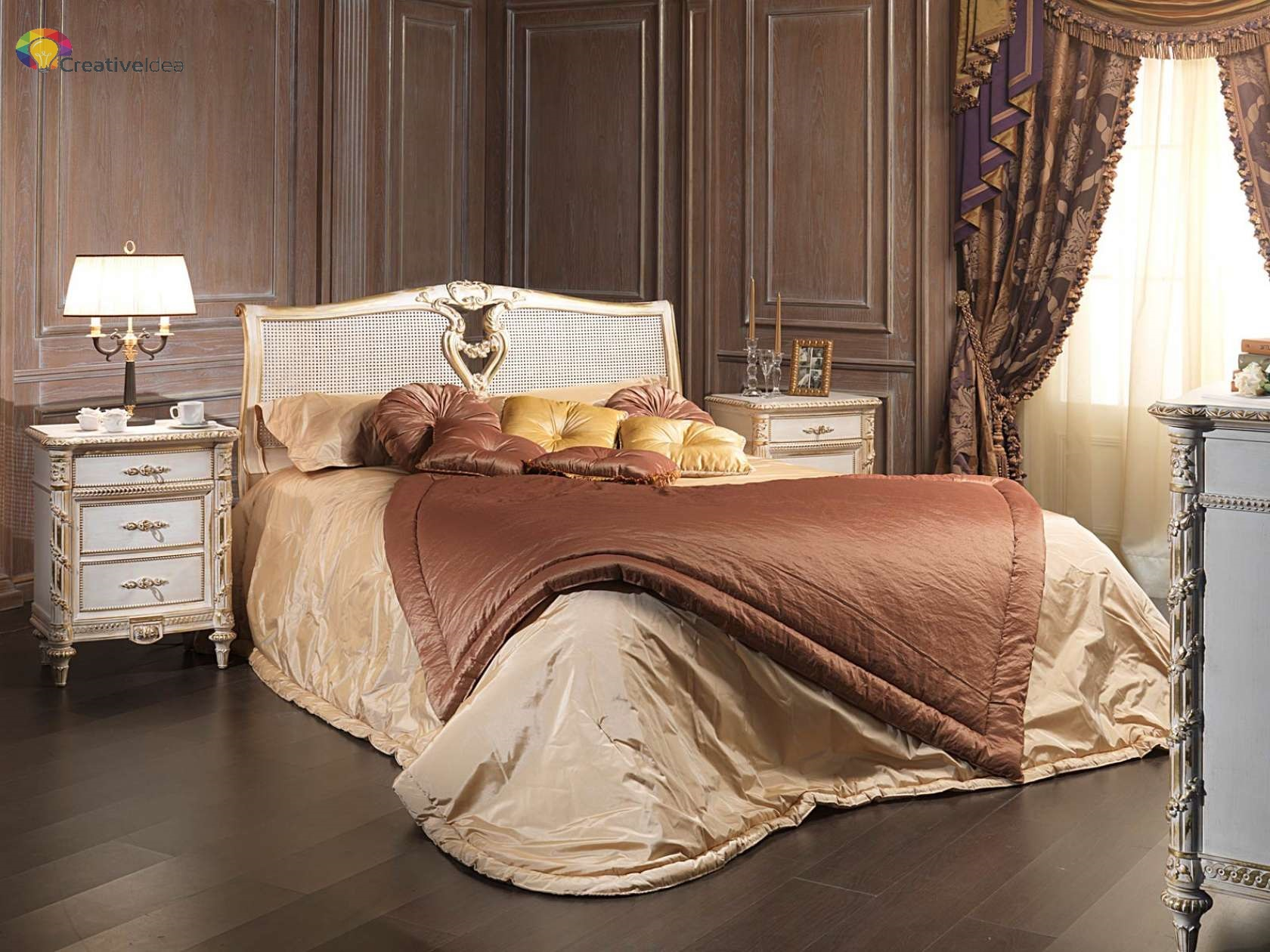 Classic bedroom in indian cane White and Gold,