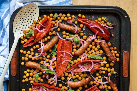 One Pan Merguez with Red Peppers and Crispy Chickpeas