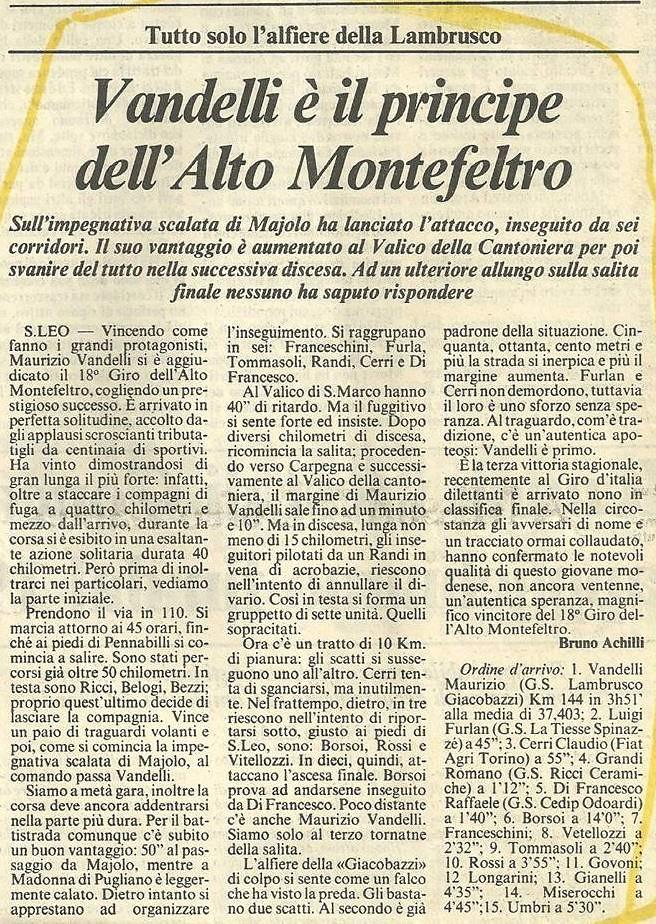A San Leo Vandelli è il principe del Montefeltro, Cerri terzo