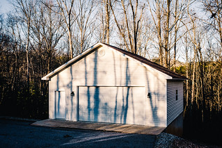 Doug's garage at sunset