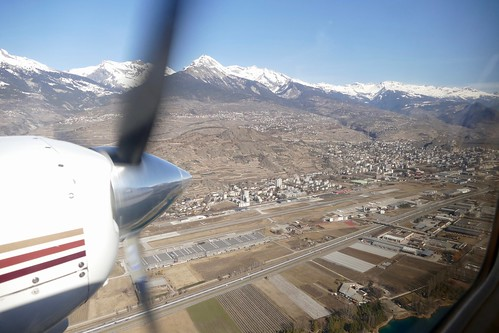 flying by Sion Airport Switzerland