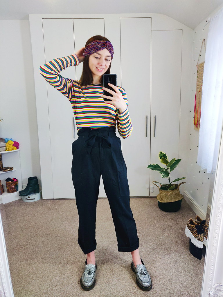 Paperbag Trousers, a striped top and a twist knot headband.