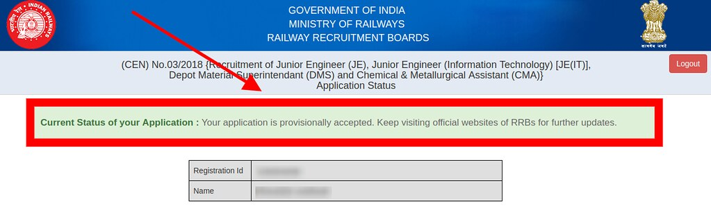 RRB JE Application Status Positive 2019