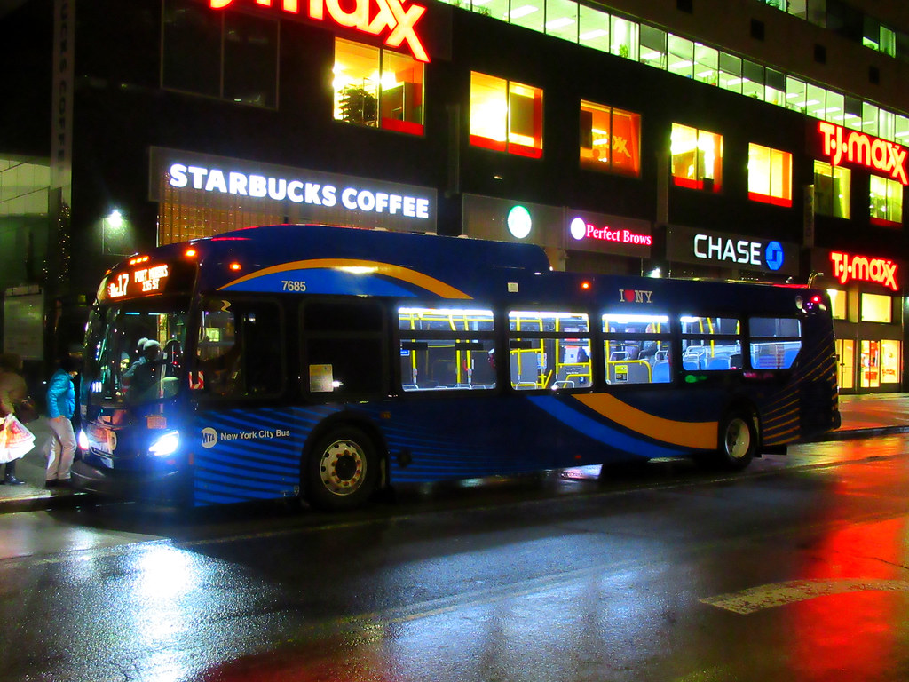 "2018 New Flyer ""Xcelsior"" XD40 7685 on the Bx17 at Fordham Plaza"