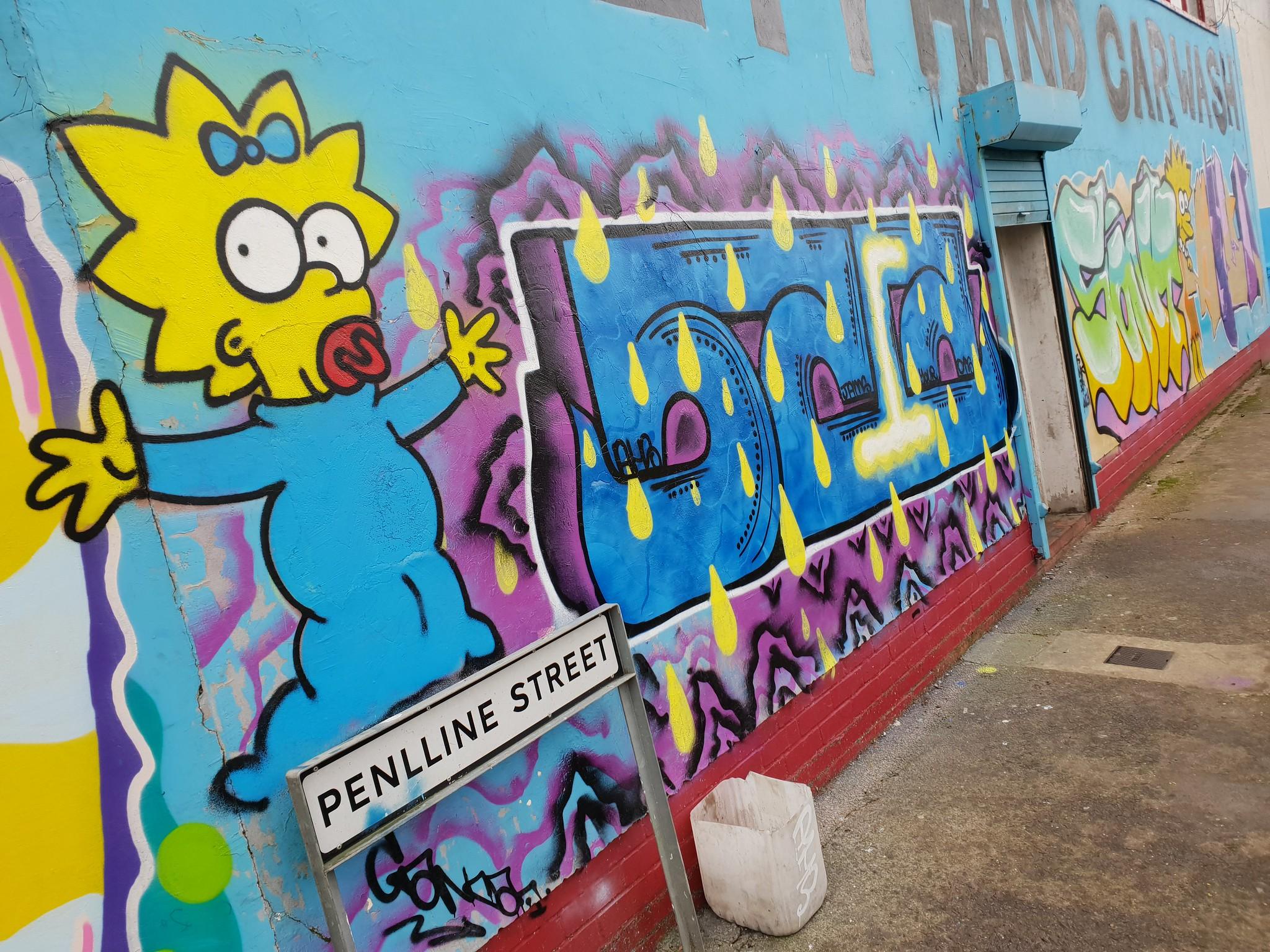 Simpsons street art, Cardiff
