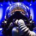 An F-35 helmet sits on stage during the F-35 Reaching IOC panel discussion during Air Force Association's Air, Space, Cyber Conference in National Harbor, Md., Sept. 20, 2016.  The F-35's helmet mounted display system is the most advanced system of its kind. All the intelligence and targeting information an F-35 pilot needs to complete the mission is displayed on the helmet's visor. (U.S. Air Force photo/ Tech. Sgt. Anthony Nelson Jr.)