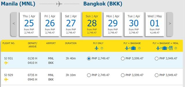 Cebu Pacific Promo Manila to Bangkok