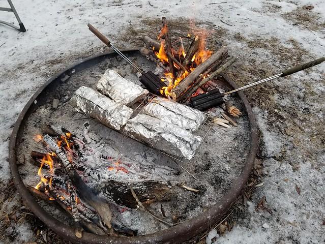 20190316.firepit.foilcooking.corndogs.ironprep