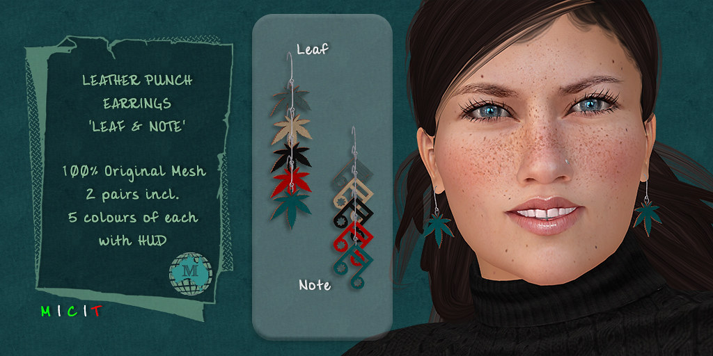 Macca – Leather Punch Earrings Leaf and Note