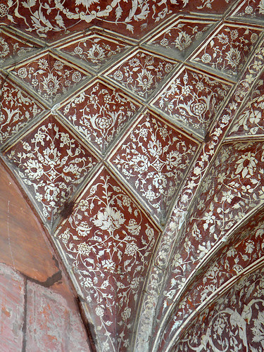 Painted decorative ceiling at Akbar's Mausoleum in Agra, India