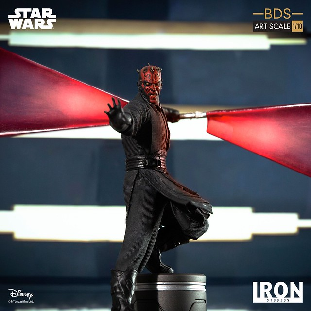 狂暴的西斯武士現身! Iron Studios《星際大戰首部曲:威脅潛伏》達斯·魔 Darth Maul 1/10 比例決鬥場景雕像作品