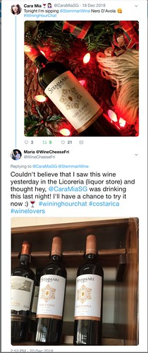 Twitter interaction about Stemmari wine