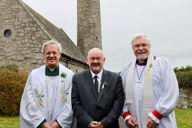 Dean Henry Hull, Eddie Lyle and Bishop Harold Miller at Saul Church, near Downpatrick.
