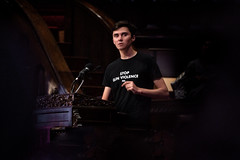 David Hogg speaking at the Westminster Town Hall Forum in Minneapolis, Minnesota