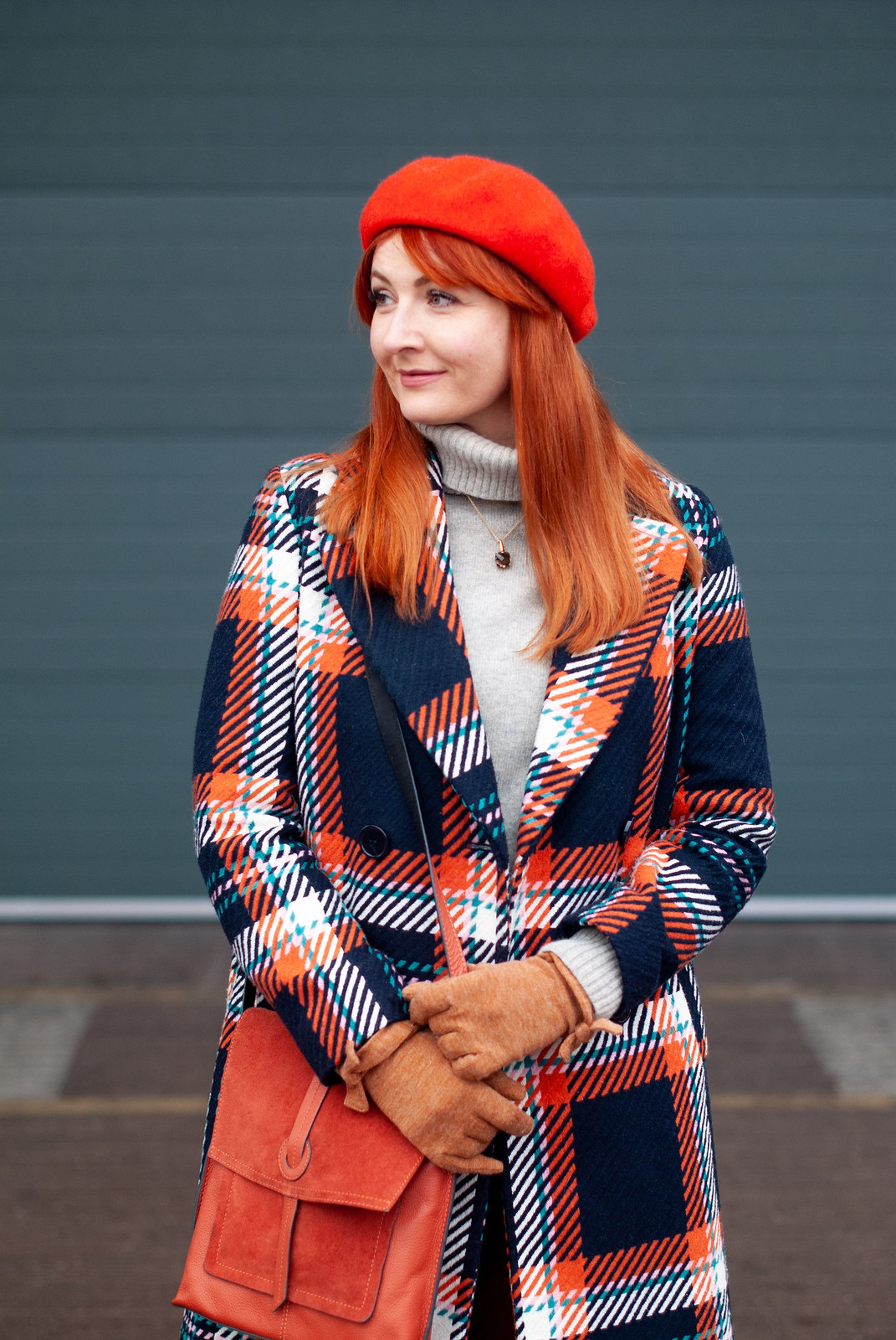 Styling Bold Colour in Winter (orange and blue check coat \ burnt orange trousers \ orange beret \ grey roll neck sweater \ two tone black, tan and snakeskin boots \ orange messenger bag) | Not Dressed As Lamb, over 40 style blog