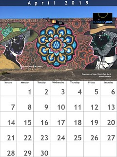 April 2019 Calendar: Downtown Las Vegas, Cosmic Punk Mural by Anthony N Ortega and Brett Rosepiler