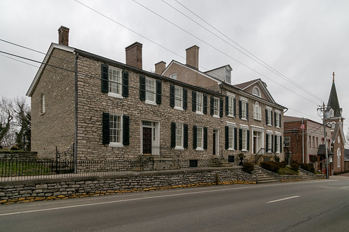 building structure early 1788 federal duncan tavern paris kentucky unitedstatesofamerica us bourboncounty twostory fivebay doublepile centralpassage limestone stone shutters woodwork trabeateddoorway sidelights transom jackarched nrhp nationalregister 73000783 1212windows 66windows cornices dormers lunette window palladian