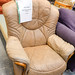 Light brown leatherette armchair E55