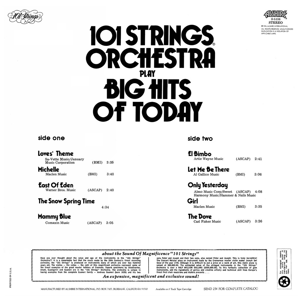 101 Strings - 101 Strings Play Big Hits of Today