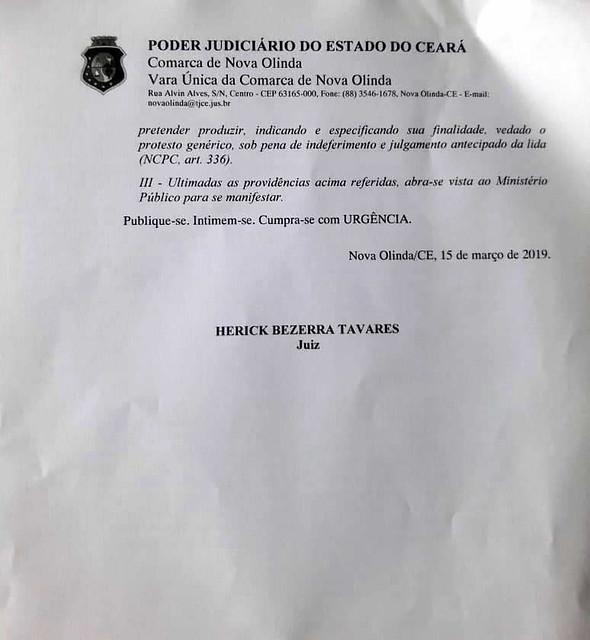 MPCE e Justiça intervêm para decidir quem será o prefeito de Nova Olinda
