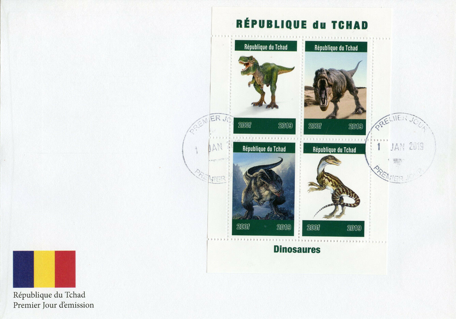 Republic of Chad - Dinosaurs (January 1, 2019) first day cover
