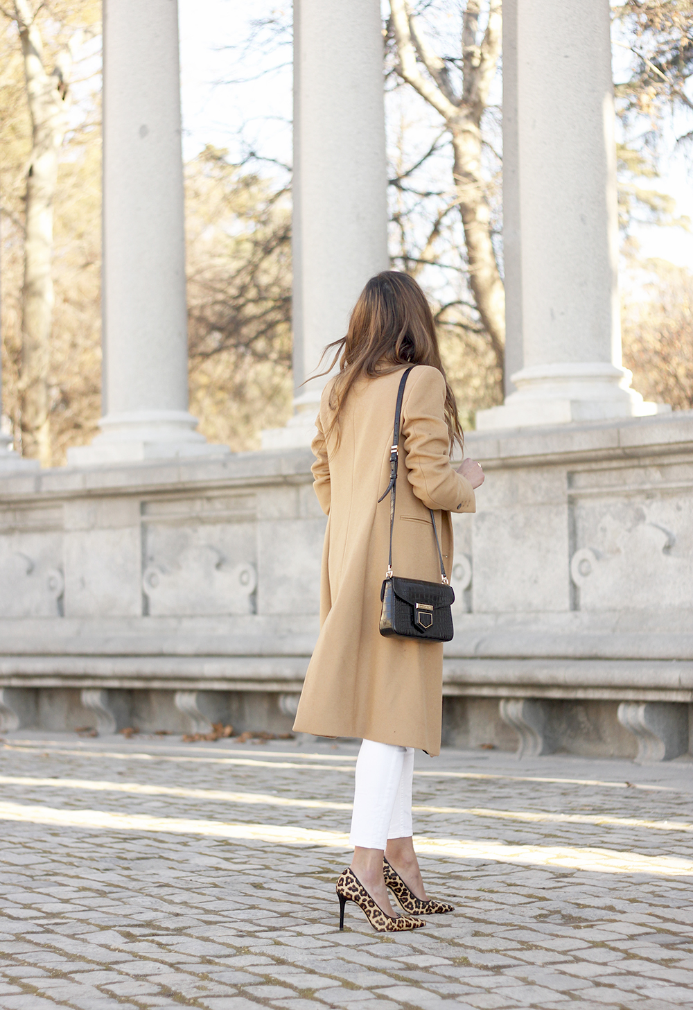 beige coat ripped jeans givenchy bag gucci belt street style outfit 20199