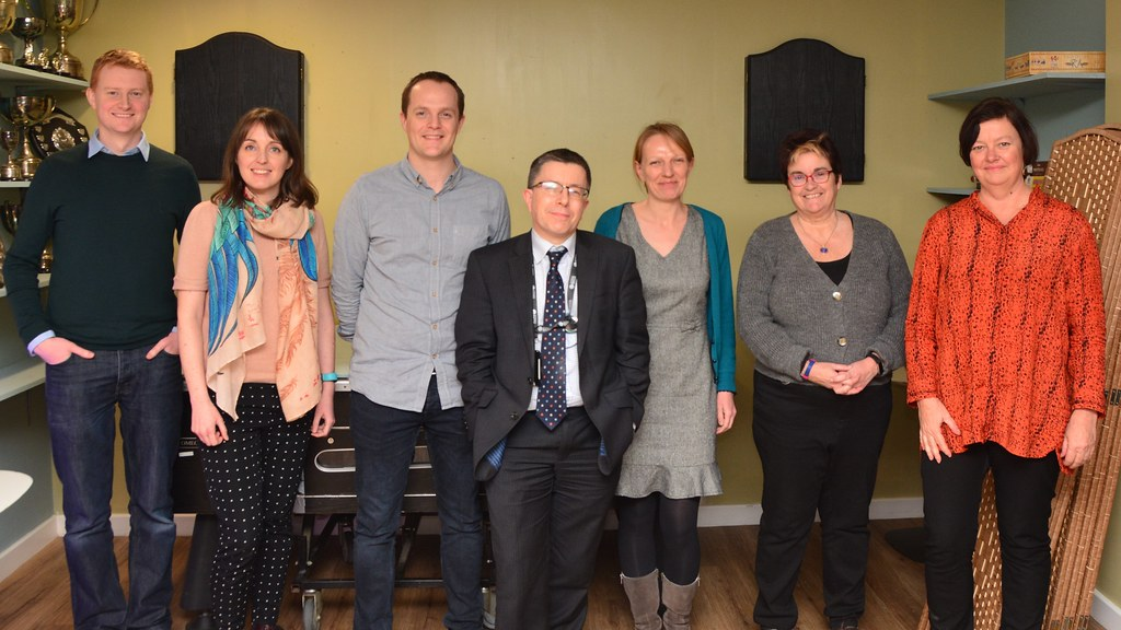 The Reimagining Recruitment project team standing together. L-R: Matt Roberts, Lucy Yeomans, Tim Rogers, Peter Eley, Susie Douglas, Julie Barnett, Leda Blackwood