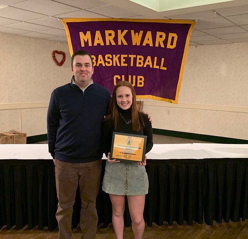 Penn Charter senior basketball star Emma Maley, shown with coach Joe Maguire, was honored by the Markward Club. | by tedtee308