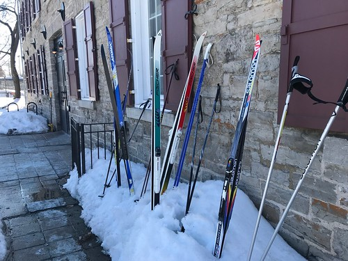 Impromptu ski parking at Mill Street