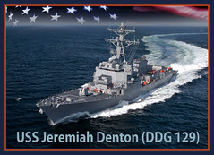 An artist rendering of the future USS Jeremiah Denton (DDG 129). (U.S. Navy photo illustration)