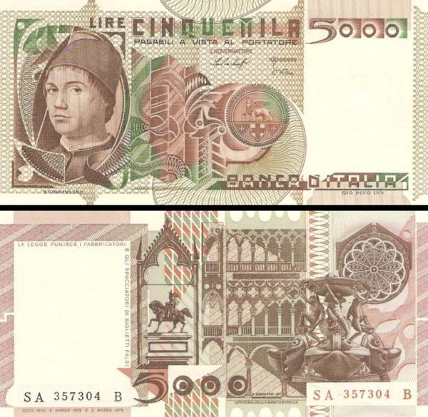 5000 Lír Taliansko 1979, P105a