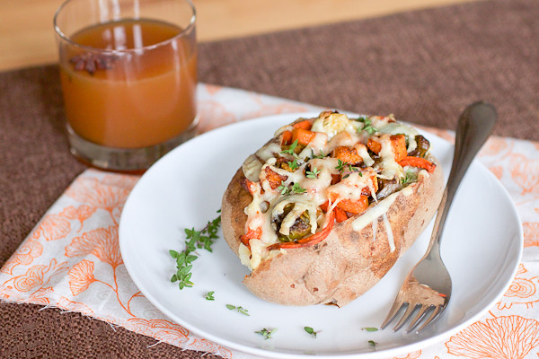 roasted vegetable stuffed potatoes
