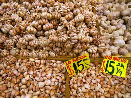 Garlic for sale at the huge Merced Market in Mexico City