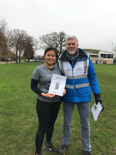 Sue Tan after her 100th parkrun