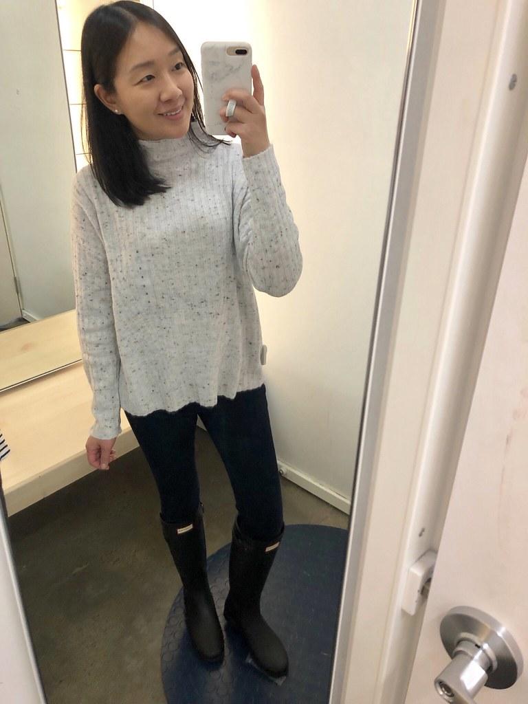 Mock-Neck Rib-Knit Sweater, size S regular
