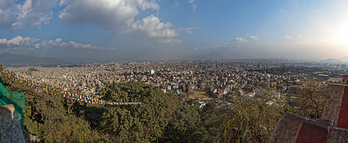 travel nepal katmandu panorama monkeytemple swayambhunathstupa