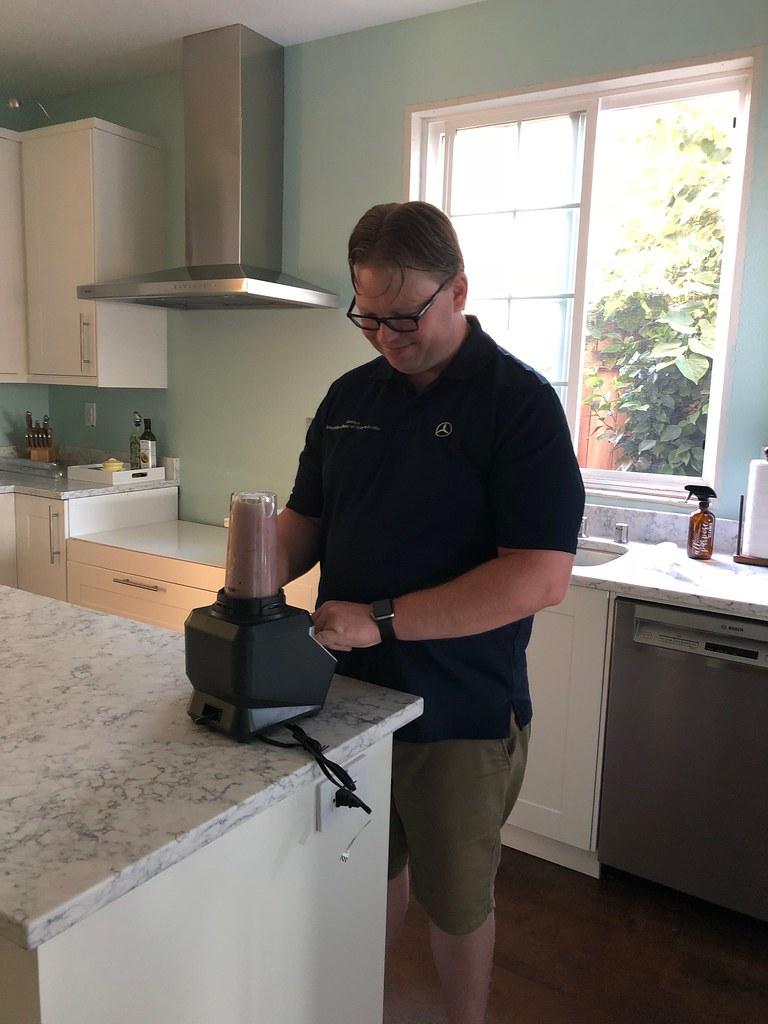 Joshua making a protein shake