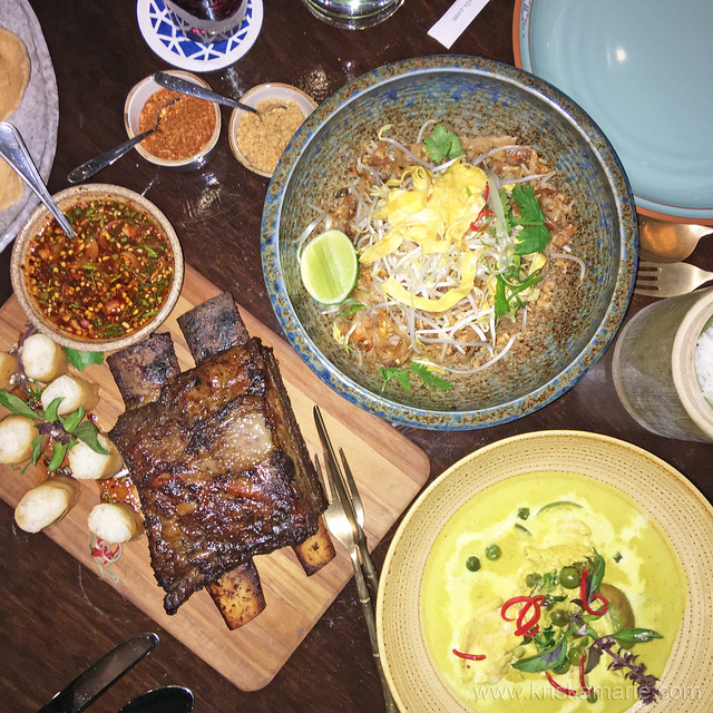 Beef Tamarind Spare Ribs, Pad Thai, and Chicken Green Curry