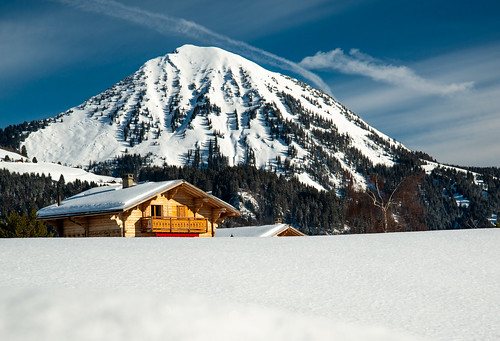 Chalet in fresh snow