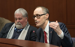 Representative Arthur O'Neill testifies before the Energy and Technology Committee in favor of legislation he proposed to eliminate energy demand fees from houses of worship.