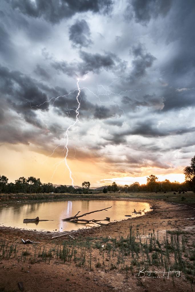 Sunset Lightning Fisher Dam