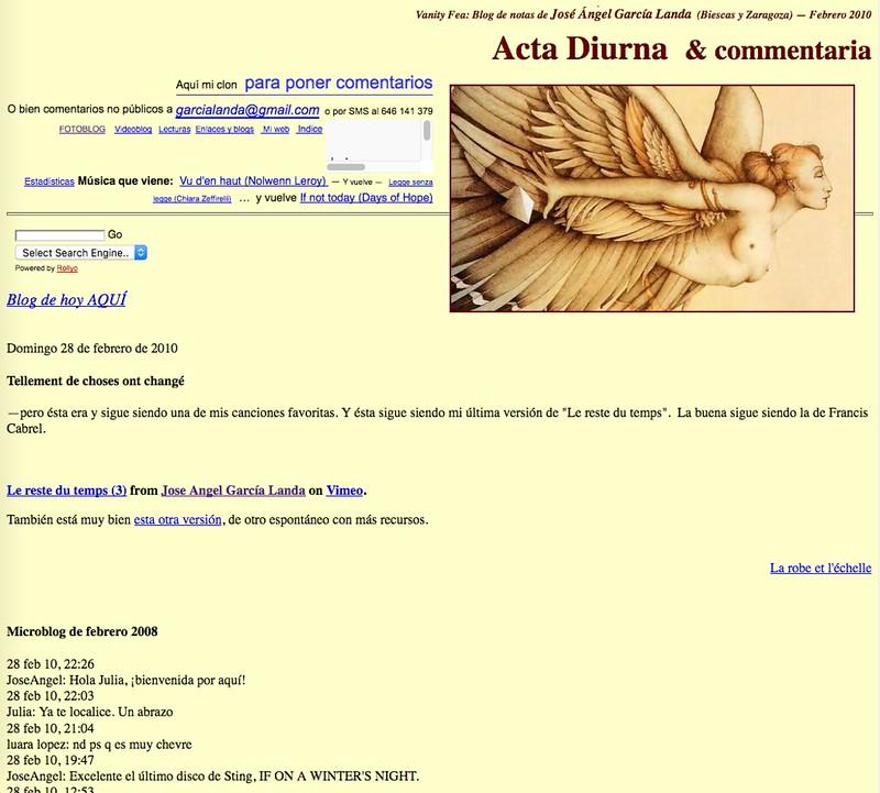 Acta Diurna & commentaria (Blog de notas de febrero de 2010)