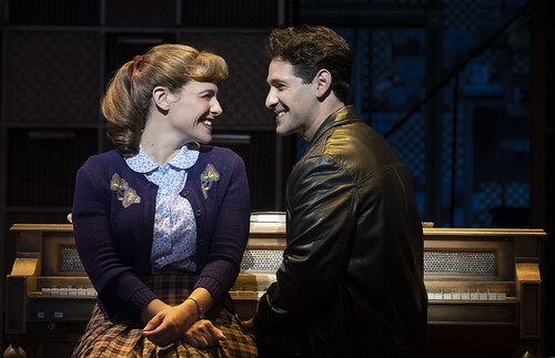 "Queens College. Sarah Bockel (""Carole King"") and Dylan S. Wallach (""Gerry Goffin""). From Why You Should See Beautiful–The Carole King Musical. Photo courtesy and copyright by Joan Marcus, used with permission"