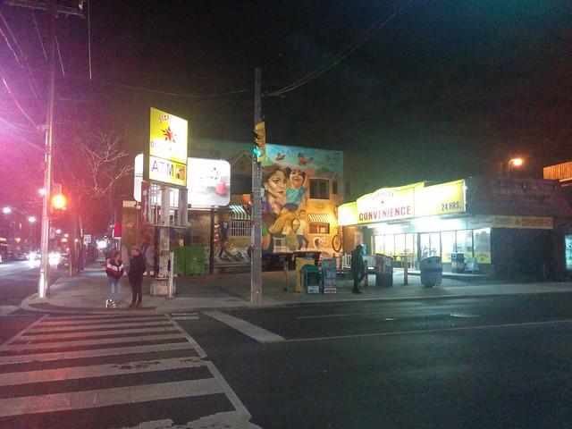 Stardust Convenience, 9 pm #toronto #brocktonvillage #dufferinstreet #collegestreet #stardustconvenience #mural #night #latergram