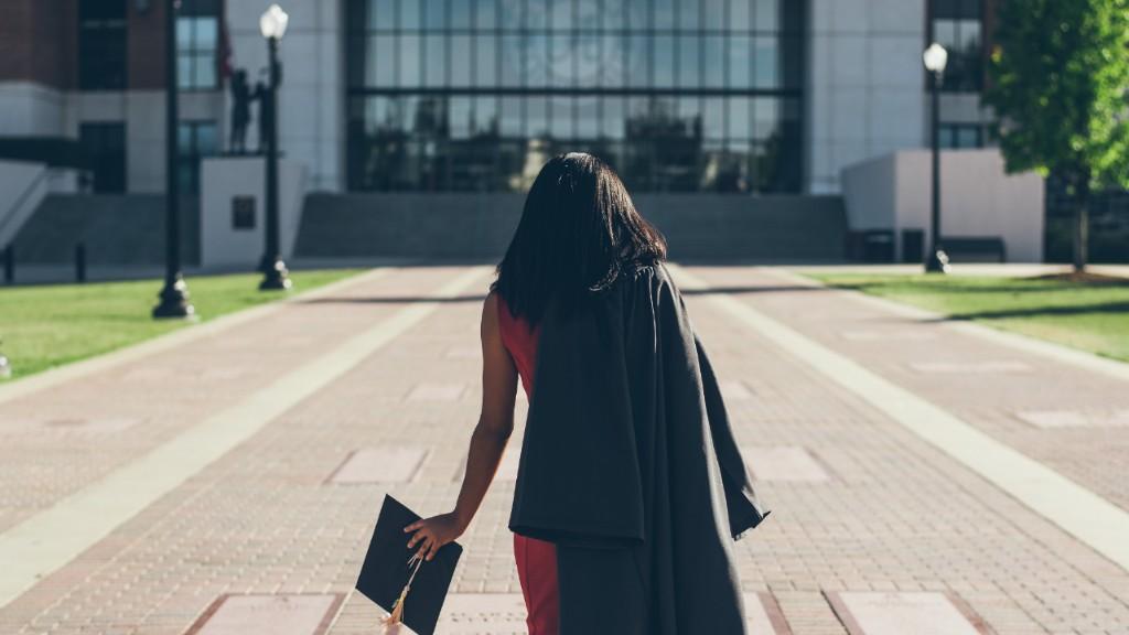 Woman academic on university campus