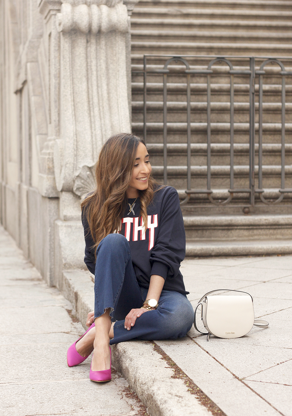 sweatshirt pink heels jeans find amazon fashion street style outfit 20195