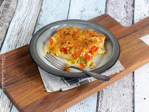 Würziger Nudel-Lauch-Auflauf mit Cornflakes-Käse-Kruste (1)